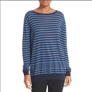 Vince Oversized Blue Stripe Tunic Light Sweater